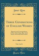 Three Generations Of English Women Vol 2 Of 2