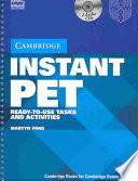 """Instant PET Book and Audio CD Pack: Ready-to-Use Tasks and Activities"" by Martyn Ford"