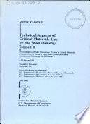 Technical Aspects of Critical Materials Use by the Steel Industry