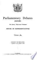 Parliamentary Debates. House of Representatives  , Band 384