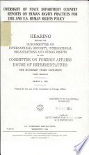 Oversight of State Department Country Reports on Human Rights Practices for 1992 and U.S. Human Rights Policy