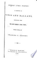 German lyric poetry A collection of songs and ballads