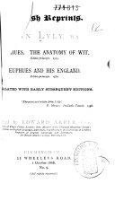 Euphues. The Anatomy of Wit. Editio Princeps, 1579