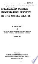 Specialized Science Information Services In The United States