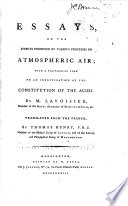 Essays on the Effects Produced by Various Processes on Atmospheric Air