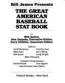 Bill James Presents The Great American Baseball Stat Book Book