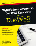 Negotiating Commercial Leases   Renewals For Dummies