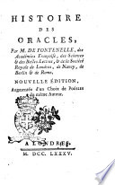 Histoire des oracles  par m  De Fontenelle  des Acad  mies Francoise