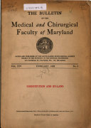 The Bulletin of the Medical and Chirurgical Faculty of Maryland