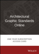 Architectural Graphic Standards Online 1 Year Subscription Access Card Book