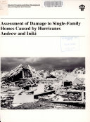 Assessment of Damage to Single family Homes Caused by Hurricanes Andrew and Iniki