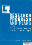 Research Progress and Plans  of the U S  Weather Bureau