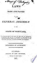 Laws of Maryland Made and Passed at a Session of Assembly