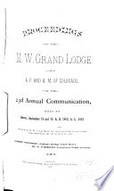Proceedings of the Grand Lodge of Colorado of the Most Ancient and Honorable Fraternity of Free and Accepted Masons
