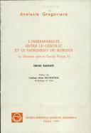 Pdf L'inséparabilité entre le contrat et le sacrement de mariage Telecharger