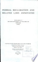 Federal Reclamation and Related Laws Annotated Book