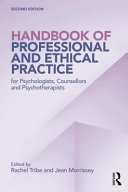Handbook of Professional and Ethical Practice for Psychologists  Psychotherapists and Counsellors