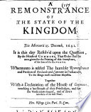 A Remonstrance of the State of the Kingdom