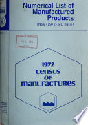 Numerical List Of Manufactured Products