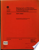Bibliography of FRA Office of Research and Development Technical Reports  1974 1980 Book