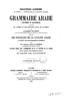 Grammaire arabe (idiome d'Algérie) a l'usage de l'armée et des employés civils de l'Algérie