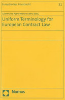 Uniform Terminology for European Contract Law