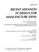 Recent Advances in Design for Manufacture  DFM  Book