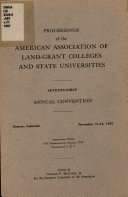 Proceedings of the American Association of Land Grant Colleges and State Universities