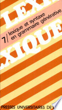Lexique et syntaxe en grammaire générative