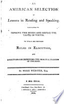 An American Selection of Lessons in Reading and Speaking