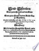 Send-Schreiben eines guten Freunds aus dem Elsaß an einen guten Freund bey dem Reichstag zu Regenspurg
