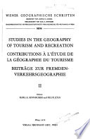 Studies in the Geography of Tourism and Recreation