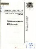 Pier Industrial Agricultural And Water Energy Efficiency Program Rd D Targets Consolidated Roadmap Book PDF