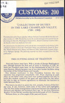 Collection of Duties in the Lake Champlain Valley 1789 1989