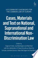 Cases Materials And Text On National Supranational And International Non Discrimination Law