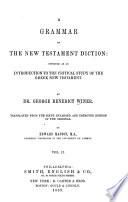 A Grammar of the New Testament Diction