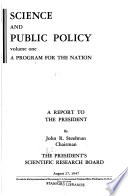 Science And Public Policy A Program For The Nation