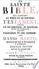 La Sainte Bible, qui contient le Vieux et le Nouveau Testament