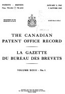 The Canadian Patent Office Record and Register of Copyrights and Trade Marks Book