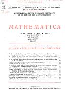 Mathematica   revue d analyse num  rique et de th  orie de l approximation