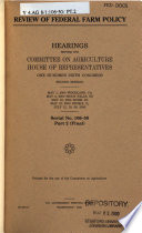 106-2 Hearings: Review Of Federal Farm Policy, Serial No. 106-50, Part 2 (Final), May 1, 2000, Etc