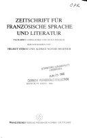 Zeitschrift für französische Sprache und Literatur