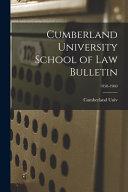 Cumberland University School Of Law Bulletin 1958 1960
