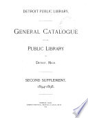 General Catalogue of the Public Library of Detroit  Mich  Supplement
