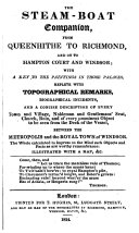 The steam boat companion  from Queenhithe to Richmond  and on to Hampton Court and Windsor