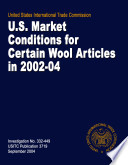 U S  Market Conditions for Certain Wool Articles in 2002 2004  Inv  332 449 Book