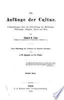Die Anfänge der Cultur