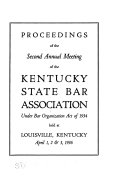 Proceedings Of The Annual Meeting Of The Kentucky State Bar Association