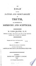 An Essay On The Nature And Immutability Of Truth In Opposition To  An Essay On The Nature And Immutability Of Truth In Opposition To  Sophistry  James Beattie Full View   We Can Make Assignment For You also How To Write An Application Essay For High School  Proposal Essay Topic List