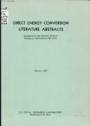 Direct Energy Conversion Literature Abstracts